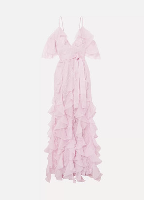 Alice McCall My Baby Love Cold-shoulder Ruffled Silk-organza And Corded Lace Maxi Dress - Lilac