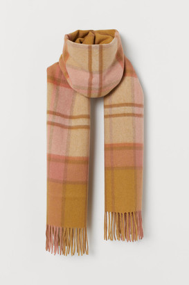 H&M Checked Wool Scarf - Yellow