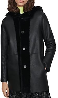 Maje Gatina Reversible Hooded Shearling Coat