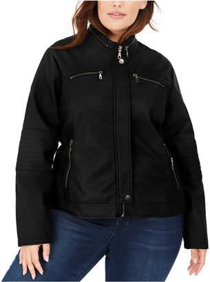 Maralyn & Me Juniors' Plus Size Faux-Leather Moto Jacket