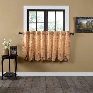 VHC Brands Tan Primitive Kitchen Curtains VHC Maisie Tier Pair Rod Pocket Cotton Floral - Flower Buttons