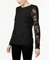 INC International Concepts Long-Sleeve Lace-Contrast Top, Only at Macy's