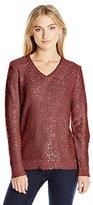 Jones New York Women's Sequin Yarn Vneck Pullover