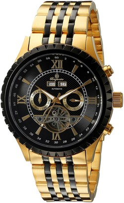 Burgmeister Denver Men's Automatic Watch with Black Dial Analogue Display and Gold Stainless Steel Gold Plated Bracelet BM327-227