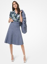 Michael Kors Tattersall Stretch Wool Gabardine Flare Skirt