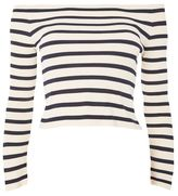 Topshop Bardot split sleeve knitted top