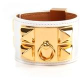 White Epsom Leather Collier de Chien Bracelet