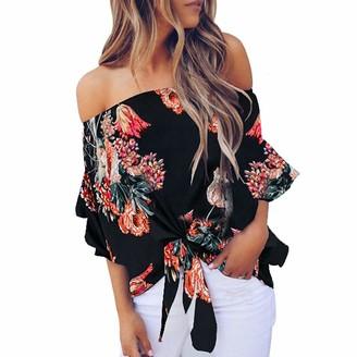 Toamen Women's Top Toamen Summer T-Shirt Sale Women's Floral Print Off Shoulder Bell Sleeve Shirt Tie Front Knot Casual Blouses Tops(Black 16)
