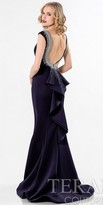 Terani Couture Cascading Ruffled Back Evening Dress