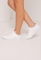 Missguided White Tab Croc Lace Up Sneakers