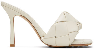 Bottega Veneta Off-White Intrecciato Lido Heeled Sandals