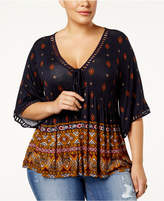 Eyeshadow Trendy Plus Size Ladder-Trim Top