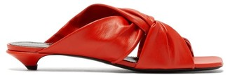 Proenza Schouler Knot Square-toe Leather Mules - Womens - Red