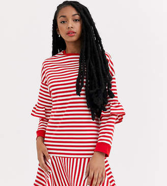 Asos DESIGN Petite ruffle sweat mini dress in red and white stripe-Multi