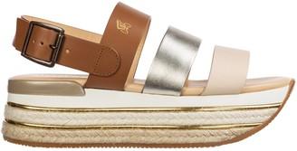 Hogan Contrasting Straps Platform Sandals