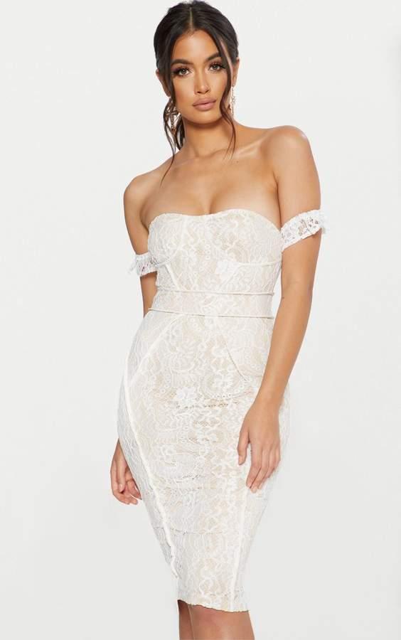 PrettyLittleThing White Lace Binding Detail Bardot Midi Dress