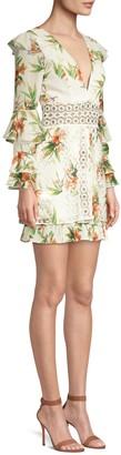 PatBO Lace Inset Floral Mini Dress
