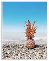 The Stupell Home Decor Collection Rose Gold Metallic Pineapple On Beach with Blue Sky Wall Plaque Art, 10 x 0.5 x 15
