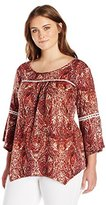 NY Collection Women's Plus Size Printed Mandarin Collar Blouse with Peplum and Pleeted Ruffle
