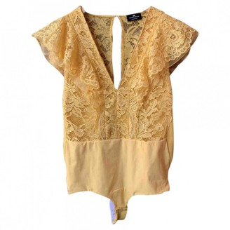 Elisabetta Franchi Yellow Lace Top for Women