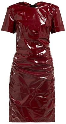 No.21 No. 21 - Ruched Tie-back Glossed Poplin Dress - Womens - Burgundy
