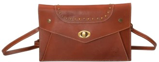 Touri Genuine Leather Turn Lock Cross Body Clutch Bag In Caramel Brown