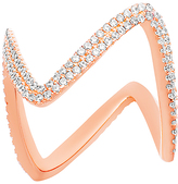 Bliss Cubic Zirconia & Rose Gold Zigzag Ring