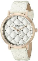 Stuhrling Original Women's 462.04 Audrey Quartz Swarovski Crystal Rose-Tone Dial Watch with Quilted Leather Band