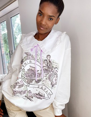 Vintage Supply oversized sweatshirt with frill collar and japan tourist graphic