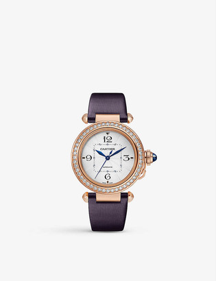 Cartier Pasha de 18ct rose-gold, diamond, sapphire and leather interchangeable strap automatic watch