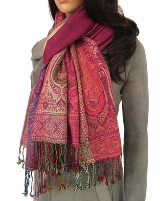 The Accessory Co. Womens Scarf Paisley Print Pashmina Shawl Wrap Large Evening Wedding Stole Floral Jacquard Pattern Long Scarves