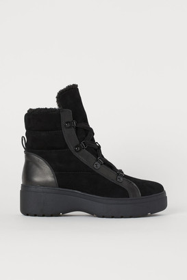 H&M Warm-lined Suede Boots - Black