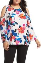 Vince Camuto Plus Size Women's Floral Rendezvous Cold Shoulder Blouse