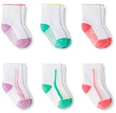 Circo Toddler Girls' Cushioned Ankle Crew Socks 6 pk Multicolored