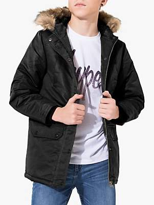Hype Boys' Parka Coat, Black