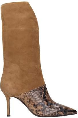 The Seller High Heels Ankle Boots In Brown Suede And Leather