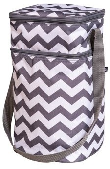 J L Childress 6 Bottle Bag, Breastmilk and Baby Bottle Bag for Daycare, Includes Ice Pack, Grey Chevron