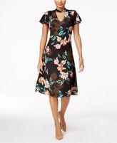 Julia Jordan Printed Flutter-Sleeve Choker Dress