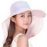 Siggi Womens Large Brim Summer Sun Flap Cap Hat Neck Cover Face Mask UPF 50+ Pink