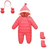 Aivtalk Baby Winter Footie Romper Snowsuit Down One Piece Hooded Zip Up Long Sleeve Bodysuit Jumpsuit with gloves
