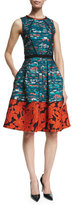 Oscar de la Renta Mixed-Media Fit-&-Flare Dress, Teal/Poppy