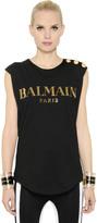 Balmain Logo In Swarovski On Cotton T-Shirt