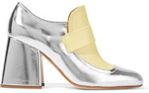 Marni Metallic Leather Two-tone Pumps - Silver