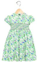 Oscar de la Renta Girls' Floral Print Embroidered Dress