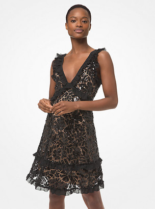 MICHAEL Michael Kors MK Sequined Lace Ruffle-Trim Dress - Black - Michael Kors