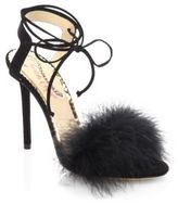Charlotte Olympia Salsa Feathers & Suede Ankle-Wrap Sandals