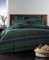 Martha Stewart Collection Warwick Cotton Reversible Herringbone Stripe Flannel King Duvet Cover, Created for Macy's