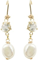 Sereia White Topaz & Baroque Pearl Drop Earrings On Solid Gold