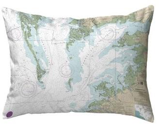 V&A Highland Dunes Sera Chesapeake Bay - Pocomoke And Tangier Sounds, Va Nautical Map Indoor/Outdoor Lumbar Pillow Highland Dunes