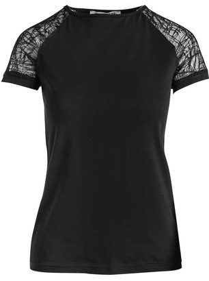 Conquista Black Top With Voile Sleeves In Stretch Jersey Sustainable Fabric.